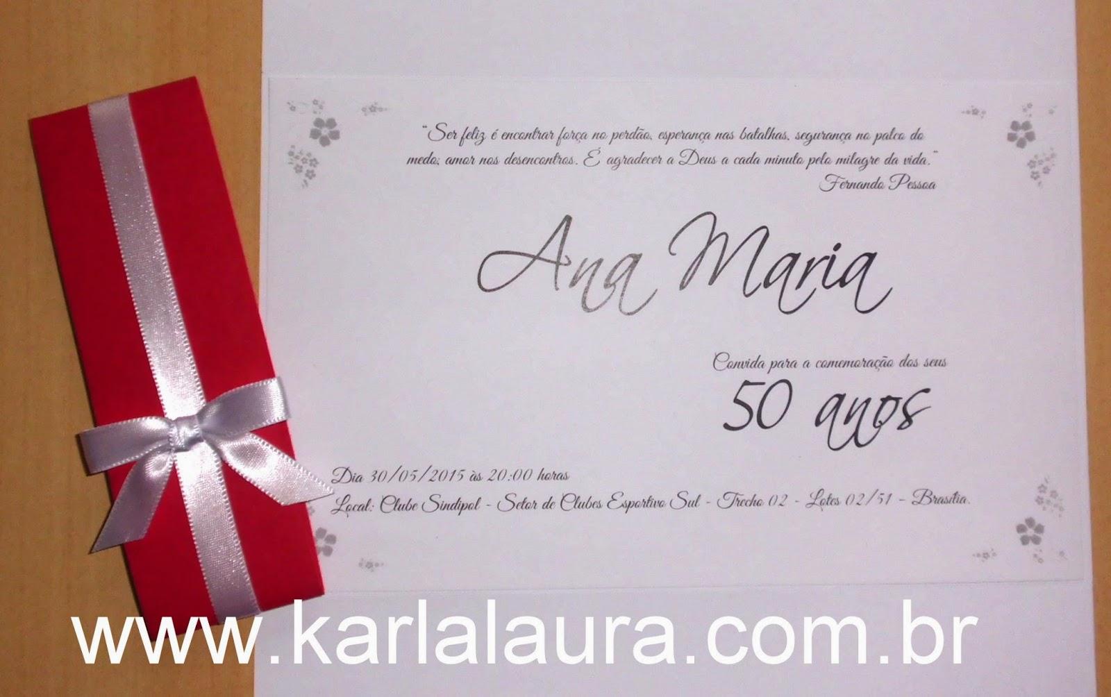 Mensagens De Aniversario De 50 Anos: Convite De Aniversario 50 Anos Convite