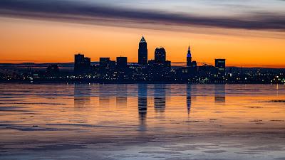 City, buildings, sea, coast, sunset, dusk, evening