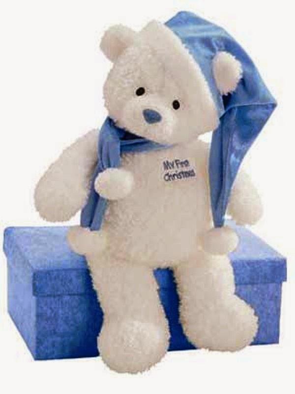 Boneka beruang putih merayakan hari natal
