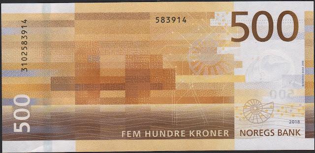 Norwegian Currency Money 500 Krone banknote 2018