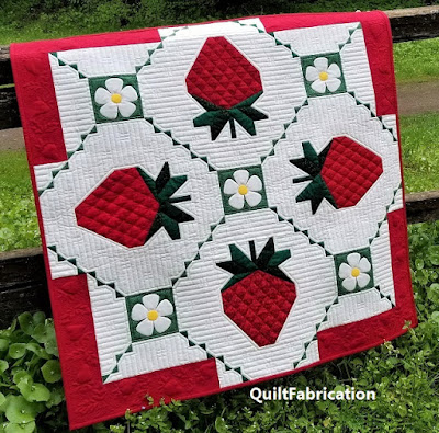 Strawberry Splendor wall hanging by QuiltFabrication