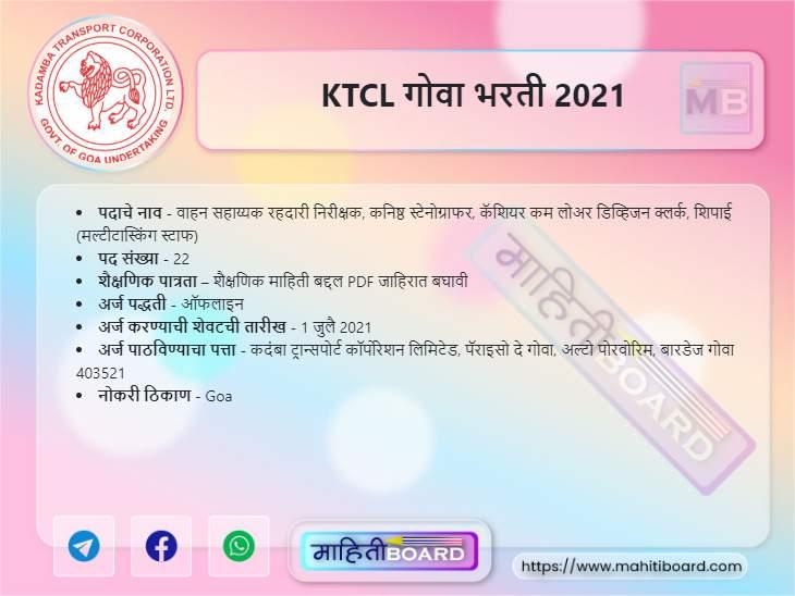 KTCL Goa Recruitment 2021