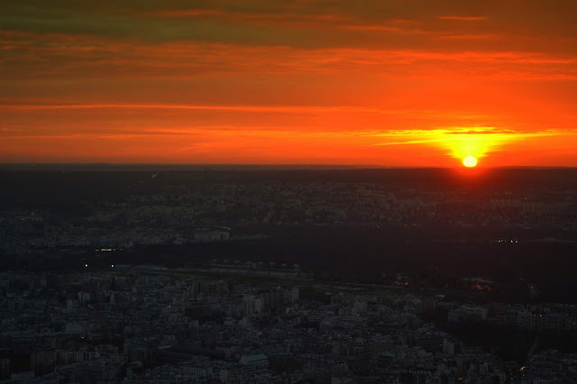 Paris - Sunset view from the top of Eiffel Tower, Paris