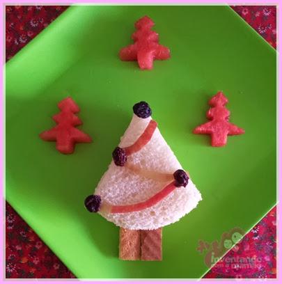 Comida Divertida de Natal sanduíche de Árvore de Natal
