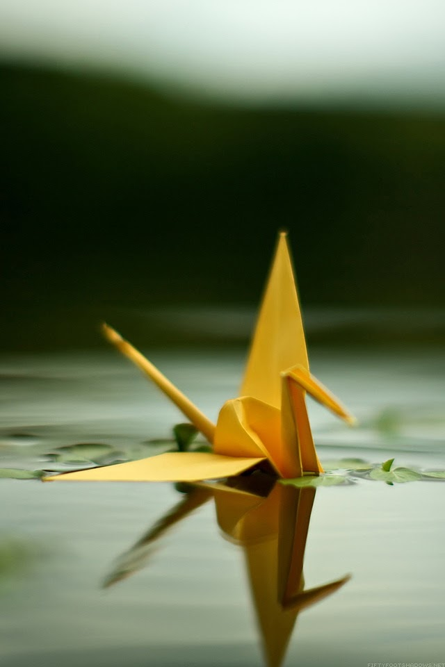 Origami Crane On The Water   Galaxy Note HD Wallpaper