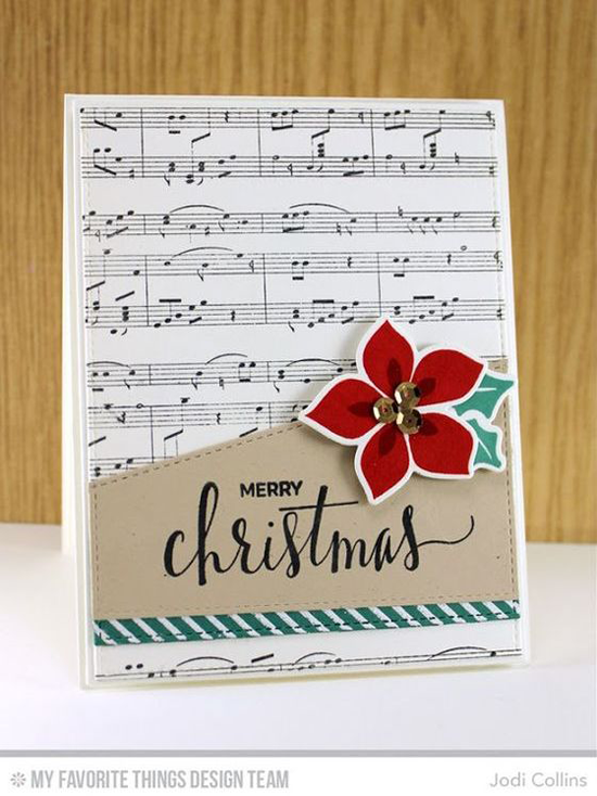 Handmade card from Jodi Collins featuring Hand Lettered Holiday stamp set, Winter Warmth stamp set and Die-namics, Diagonal Stripes and Sheet Music Background stamps, Stitched Basic Edges Die-namics #mftstamps
