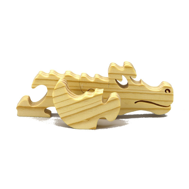 Wood Puzzle Baby Alligator, Simple Three Part Puzzle, Wooden Animal