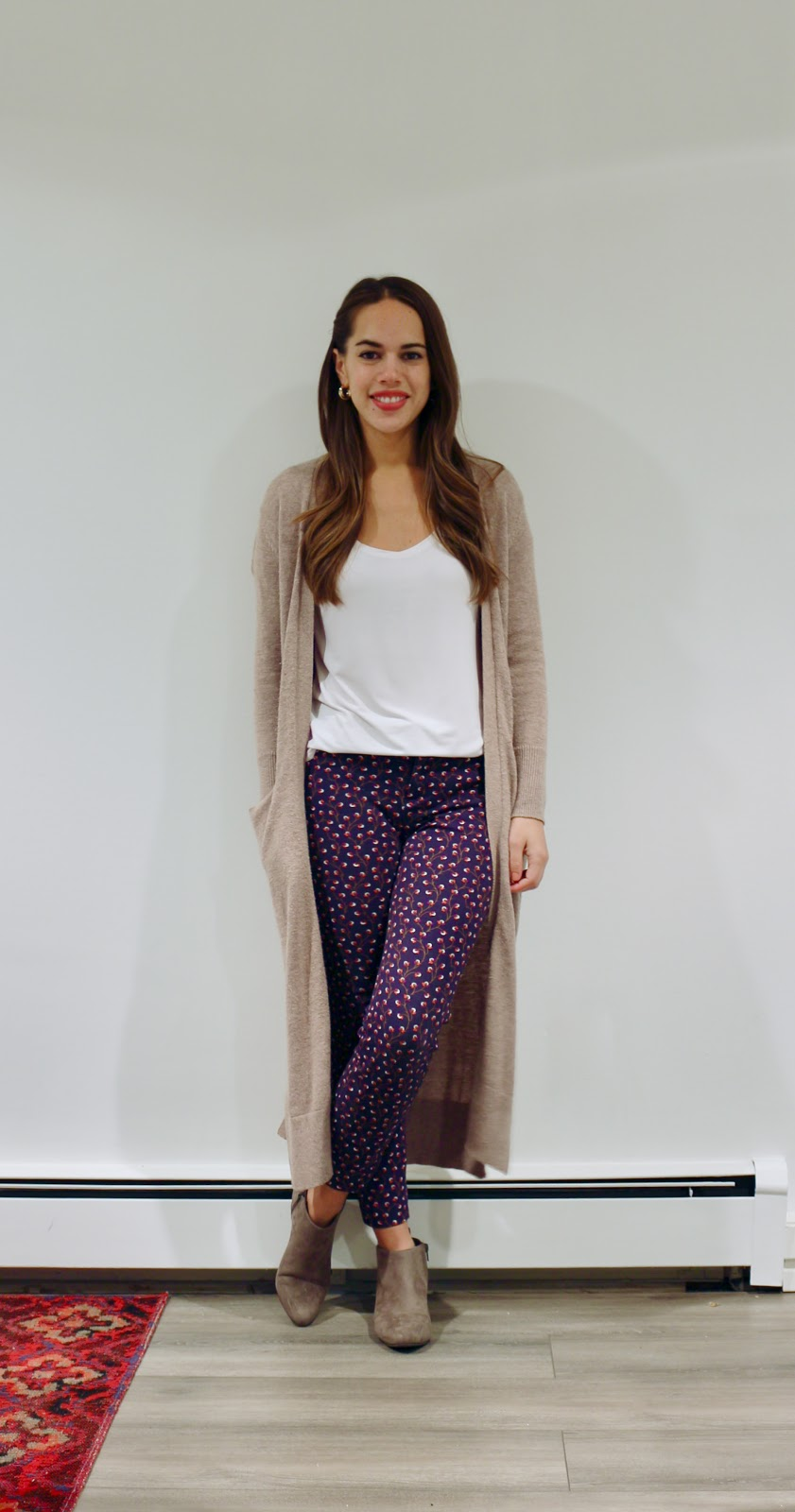 Jules in Flats - Super Long Open Front Sweater - Duster Cardigan with Pixie Ankle Pants (Business Casual Fall Workwear on a Budget)