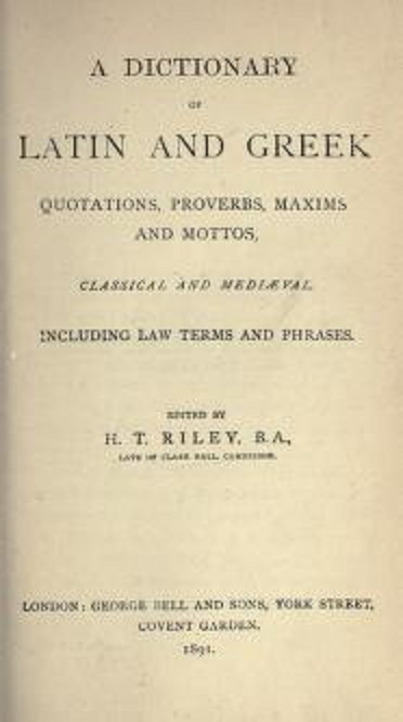 Dictionary of Latin and Greek quotations