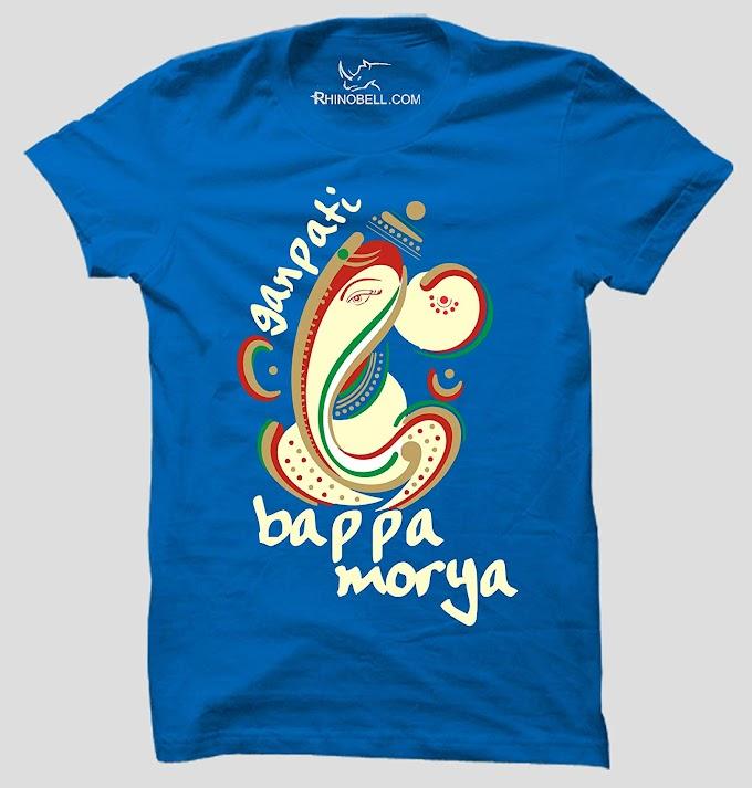 Ganpati Buppa Morya(Multi Color) 100% Cotton Round Neck Half Sleeve Religious Men's T Shirt