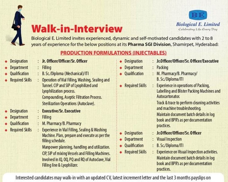 Biological E. Limited Pharma Company Recruitments for Multiple Openings ITI / Diploma / B.Sc. / B.Pharm / M.Pharm Candidates on 18th July' 2021 at Hyderabad
