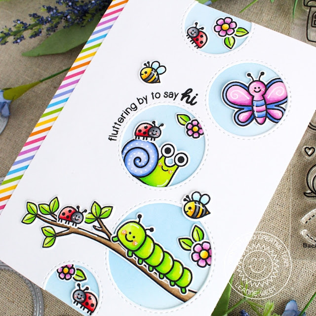 Sunny Studio Stamps: Staggered Circles Dies Backyard Bugs Hello Card by Leanne West