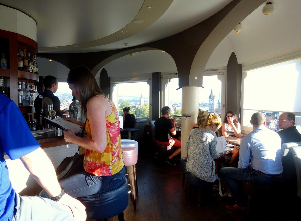 Jules Verne Panorama Bar is inside the round tower of the building As