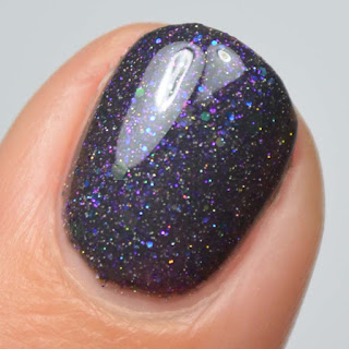 charcoal nail polish with purple and holo glitter