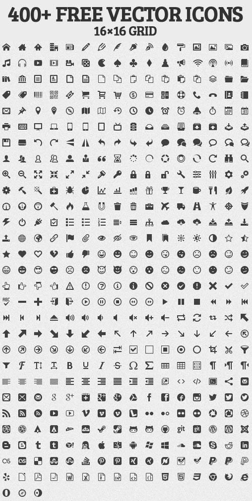 400 iconos gratis en vector para diseñadores