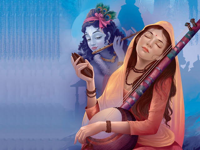Best Lord Krishna With Mira  Wallpaper In Blue Background