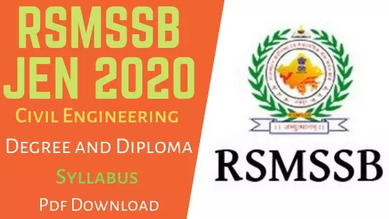 RSMSSSB JEN Civil Syllabus 2020: Degree and Diploma Syllabus Pdf Download