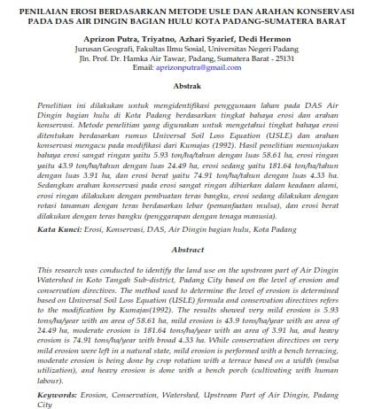 Penilaian Erosi Berdasarkan Metode Usle Dan Arahan Konservasi Pada DAS [PAPER]
