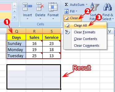 Clear Option in MS Excel in Hindi