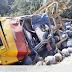 Caminhão carregado de gás tomba na PI-122 e populares tentam saquear a carga