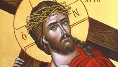 Christ carrying His cross icon.