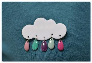 broche nuage et gouttes rose violet turquoise