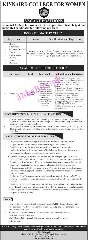www.kinnarid.edu.pk Jobs 2021 - Kinnaird College for Women Jobs 2021 in Pakistan
