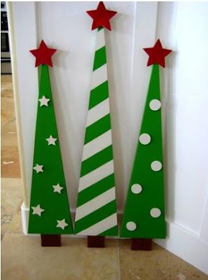 cómo hacer árboles de navidad en madera para el exterior, manualidades en madera para navidad