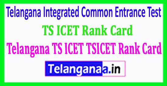 Telangana TS ICET TSICET Rank Card 2018