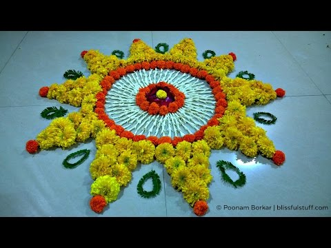 Diwali Special Rangoli Design with marigold flowers How to make rangoli with flowers I Poonam Borkar