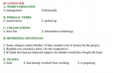 امتحان البكالوريا 2008 مادة الانجليزية المسالك العلمية و التقنية مع التصحيح language
