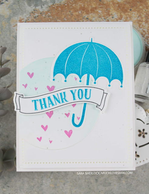 Handmade thank you card featuring Flower Shower Stamp Set & Die bundle from Fun Stampers Journey.  Blended PanPastel background.  By Sara Sherlock - www.muchlovesara.com