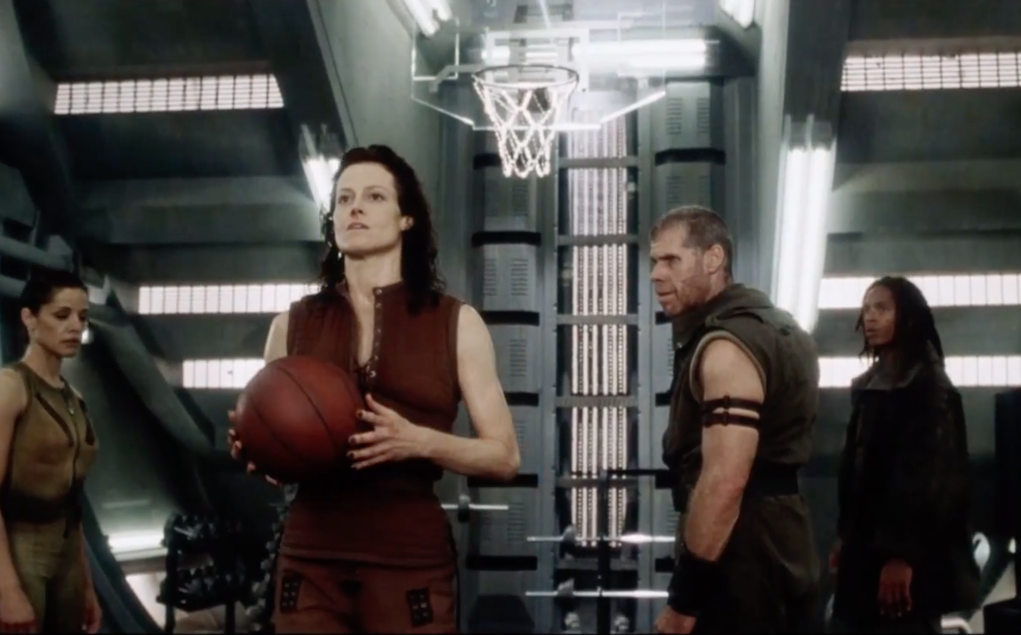 """behind the scenes, When Sigourney Weaver actually scored the """"impossible"""" basketball shot from Alien Resurrection (1997)"""