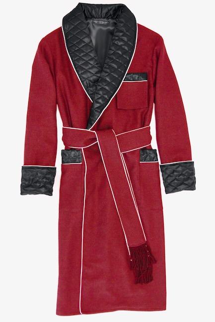 herren morgenmantel warm wolle dunkelrot hausmantel edel elegant dressing gown gesteppt gefüttert englischer bademantel