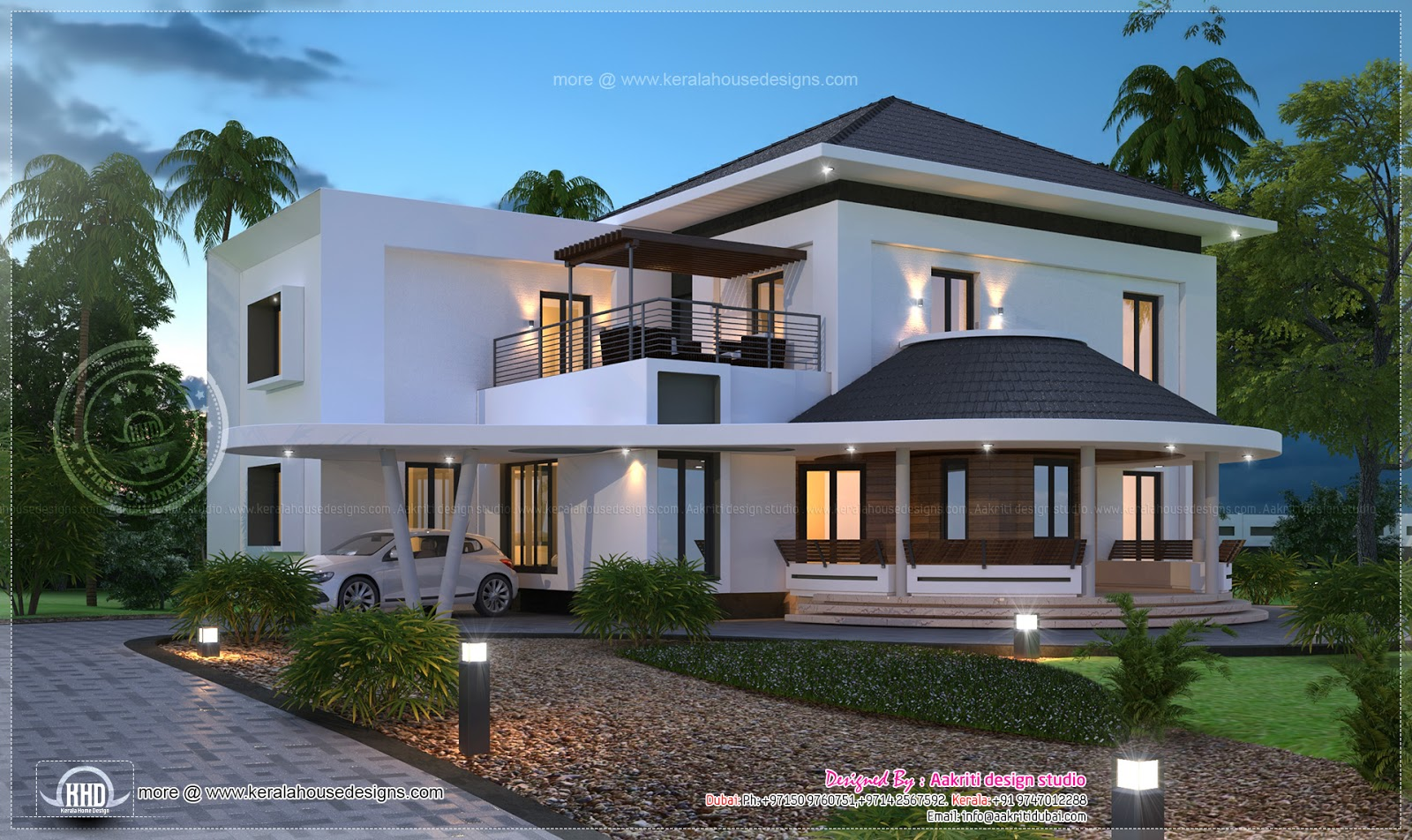 Beautiful 3200 sq ft modern villa exterior home kerala plans for Modern home decor dubai