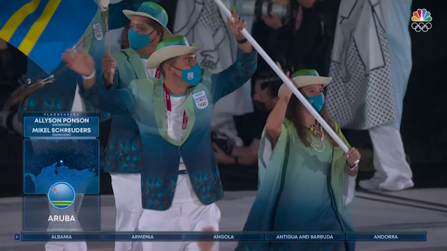 Tokyo 2021 Olympics Opening Ceremony Aruba Parade of Nations outfits Allyson Ponson Mikel Schreuders