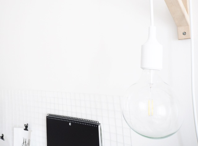 Make a Sconce light with the IKEA Ekby Valter and Muuto Pendant Light for a simple office lamp