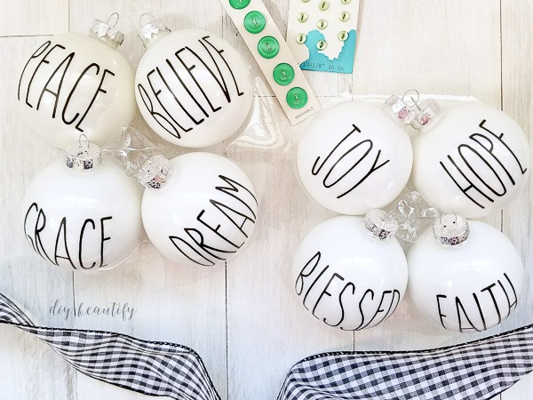 Rae Dunn inspired Christmas ornaments