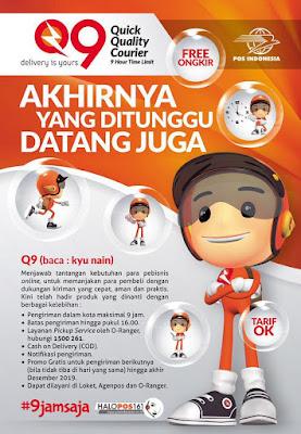 Layanan Pengiriman Q9 (Kyu Nain) Sameday Service PT. Pos Indonesia