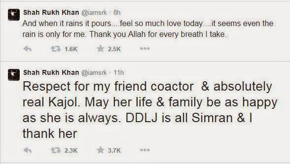Shahrukh Khan's tweets about DDLJ