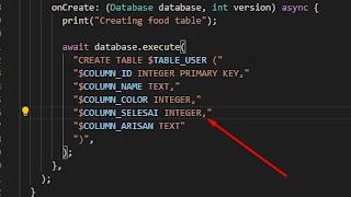 Flutter SQLite no such column1