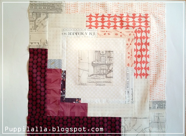 Converging Corners, Film in the fridge, Puppilalla, log cabin block, Quilting bee, Patchwork
