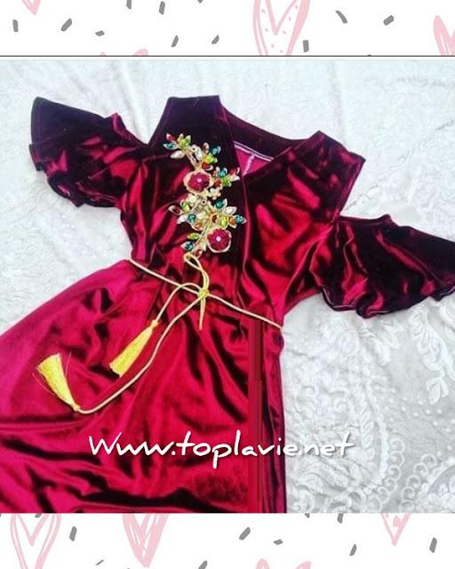 تفصيل و خياطة موديل فستان قطيفة - قنادر قطيفة مناسبات