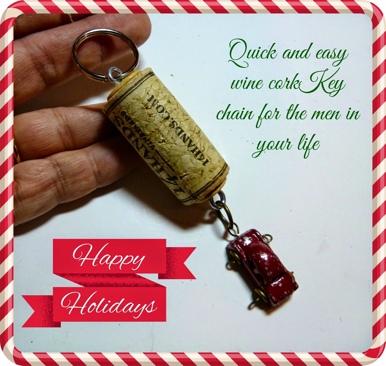 make it easy crafts recycled wine cork key chain tutorial. Black Bedroom Furniture Sets. Home Design Ideas