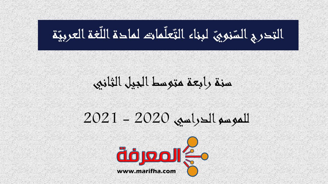 التدرج السنوي لبناء تعلمات اللغة العربية السنة الرابعة المتوسطة الجيل الثاني 2020 - 2021