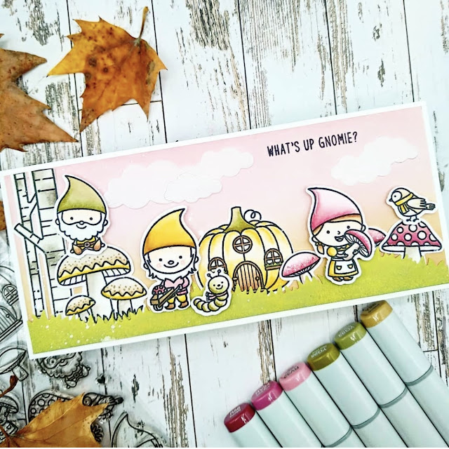 Sunny Studio Stamps: Home Sweet Gnome Customer Card by Rachel Arribas