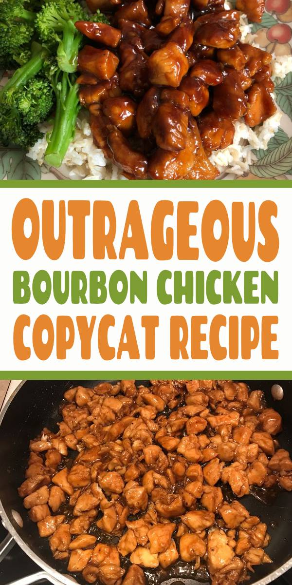 OUTRAGEOUS Bourbon Chicken Copycat Recipe | A copycat recipe for the bourbon chicken served at many food court Chinese restaurants. This may not be authentic Chinese food, but it is delicious. #chinesefood #bourbon #chicken #bourbonchicken #copycatrecipe #dinner