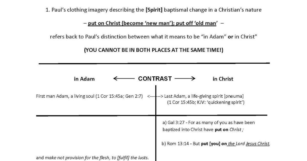 CLOTHED IN CHRIST: DIAGRAM_In Adam_In Christ, Table 1