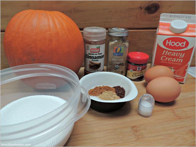 Ingredientes del Relleno de la Tarta de Calabaza