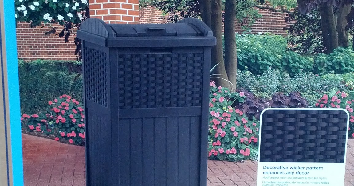 Suncast Resin Wicker Trash Hideaway Refuse Container